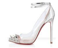 Black Silver 10cm High Heels Rivets Pointed High Heels Shoes with thin female red Bottom Heels Heels