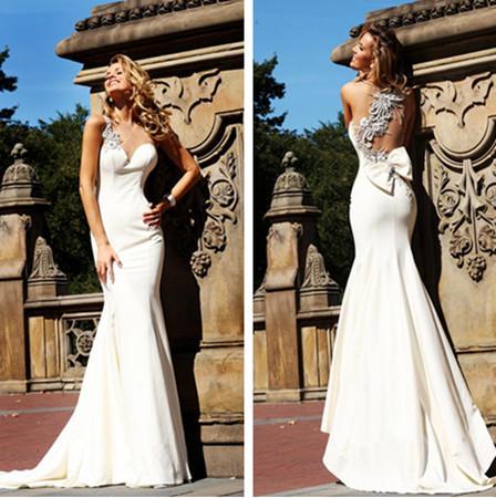 2013 recém-chegados querida cetim frisado branco sereia vestidos de baile vestido de festa longo te 92092 fotos reais(China (Mainland))