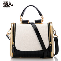 2013 women's handbag bag fashion color block glossy female handbag one shoulder cross-body street women's handbag