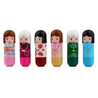 12 pcs Lovely Kimono doll Pattern colorful Girl Makeup Lip Balm Lipstick present DropShipping