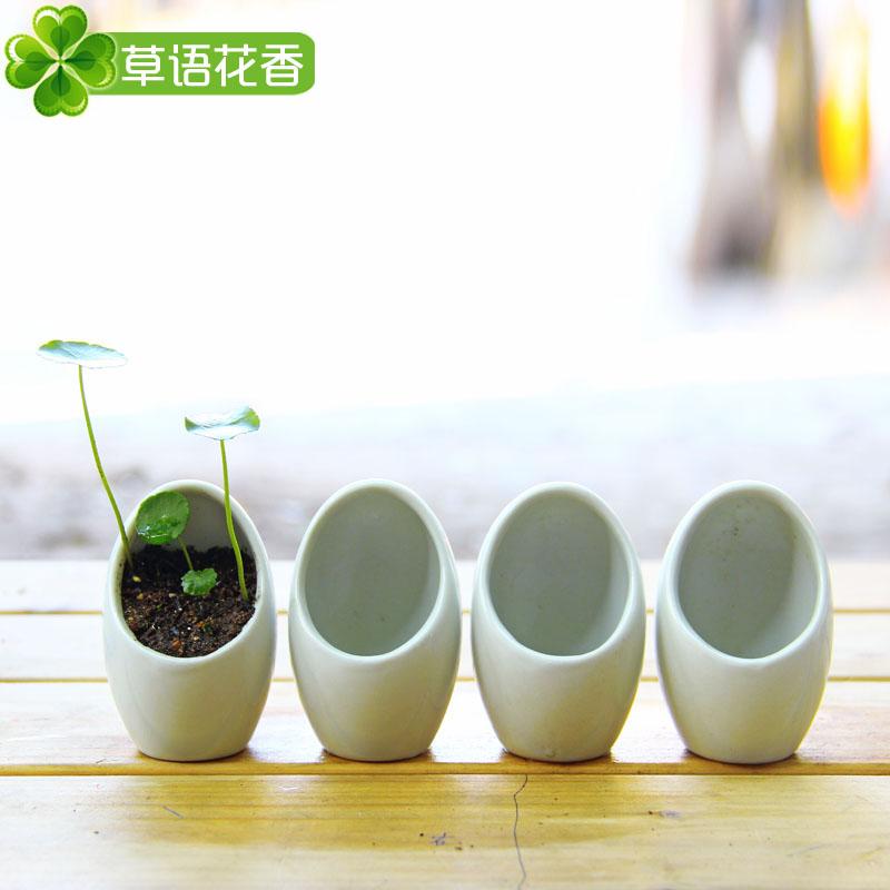 flower pot eggshell shape small plants flower pot white ceramic pots