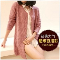2013 women's fashion pineapple needle mohair medium-long angora cardigan sweater