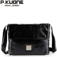 P . kuone lather-bag male genuine leather messenger bag shoulder bag horizontal clad cover type male leather bag