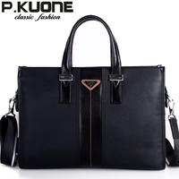 P . kuone genuine leather man bag bag commercial handbag briefcase messenger bag cowhide