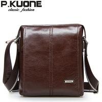 P . kuone messenger bag man bag messenger bag cowhide male casual commercial male shoulder bag
