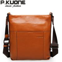 P . kuone genuine leather man bag shoulder bag casual bag man cowhide commercial messenger bag