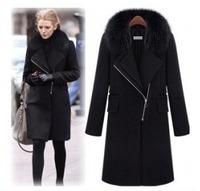 Ol formal long straight design fur collar woolen outerwear overcoat black big fashion women's