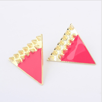 FREE SHIPPING Mix order $10, Europe Fashion exaggerated triangular tri-color Earrings