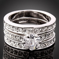 2013 New Fashion Finger Ring Christmas Gift 18K White Gold Plated Use Sw Crystal 3 In 1 Wedding Ring Wholesale Free Shipping