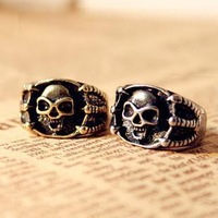 E0054 fashion accessories vintage skull ring punk personality ring female