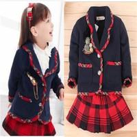 2013 autumn children's clothing female child navy style set baby sweet preppy style twinset skirt