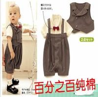 Children's clothing 2013 summer baby stripe bodysuit  100% short-sleeve cotton party dress