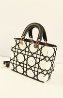2013 hot! Free shipping ladies fashion tote, classic plaid bag, mini tote, ladies bag new, beaded bag