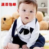 2013 children's clothing male child gentlemen's suit infant formal dress romper baby cotton100%