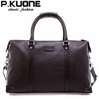 Free shipping Classic check male genuine leather travel bag handbag large bag cowhide backpack messenger bag travel bag