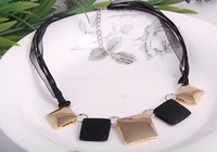 FREE SHIPPING (Mix order $10),  European and American Fashion black geometric lace leather cord Necklace