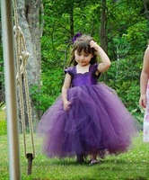 fashion DHL Free shipping elegant ball gown organza purple flower girl dresses for wedding with flowers bow in store