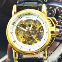 2013 New Arrivals Gold Hollow Out Watch Auto Mechanical Men Watches Wristwatch Free Ship
