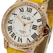 Yellow Deluxe Women's Ladies Girls Crystal Diamond Jewelry Xmas Christmas Birthday Gift Dress Analog Quartz Wrist Watches