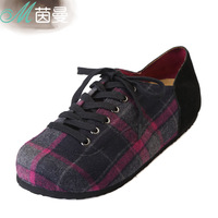 Inman 2013 winter female brief plaid lacing all-match single shoes shallow mouth shoes