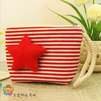 GK3-19 Free Shipping Girl Fashion Stripe /Solid Color Canvas Coin Purse,Shoulin pentacle Cellphone Bag,Women Mini Wallet