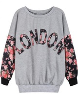 2013 New Autumn Fashion Sweatshirt For Women Grey Contrast Florals LONDON Print Sweatshirt Free Shipping, High Quality!