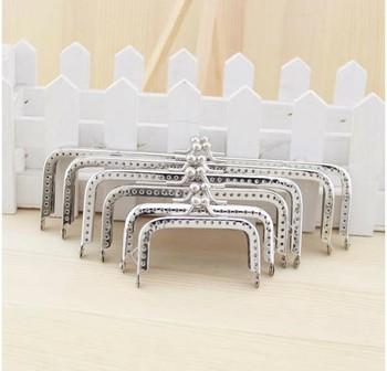 6Pcs 6.5 /8.5 /10 /12 15/ 18CM DIY Handmade Square Silver Coins Purse Frames Metal Kiss Clasp Bags Making Supplies (Half a hole)