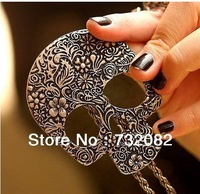 Pouplar style Antiqued Bronze Large Skeleton Skull Head Pendent Necklace Fashion Jewellery E2700-copper