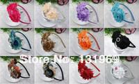 12 pcs Girl Grosgrain Ribbon Boutique hair Bow chiffon shabby rose Flower princess Headwear Headband Christmas gift accessory