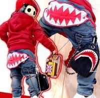 Free shipping 2013 new large shark teeth children jeans B049