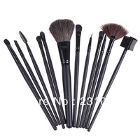 SALES!!! 12 PCS Professioal Makeup Brushes Set with Black Leather Case, Free Shipping, Dropshipping