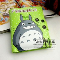 Cartoon totoro pattern three-dimensional cartoon purses short design women's wallet band card case