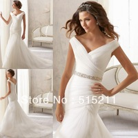 Sexy Off The Shoulder V-neck Open Back Rhinestone Belt White Organza Chapel Train Mermaid Wedding Dresses 2014
