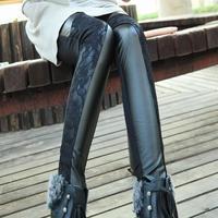 Sale Sexy Lace Leggings for Women Faux Leather Pants Lace Leggins Warm Leggings Winter Black Leggings Women Fashion 2013