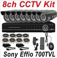 Free shipping best sony effio 700TVL ir cctv secuirty video camera 8ch cctv kit system 8ch full D1 HD DVR digital video recorder