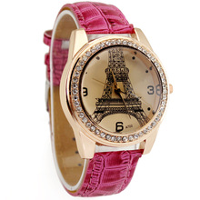 Hot Pink Deluxe Women's Ladies Girls Eiffel Tower Crystal Diamond Jewelry Christmas Birthday Gift Analog Quartz Wrist Watches
