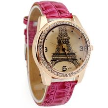 Hot Pink Deluxe Women's Ladies Girls Eiffel Tower Crystal Diamond Jewelry Christmas Birthday Gift Analog Quartz Wrist Watches