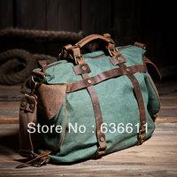 2013 Vintage fashion women's canvas handbag high quality canvas+crazy horse leather shoulder bag for women messenger bag
