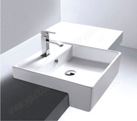 Free drains free shipping 7504 Ceramic Rectangular Counter top Cabinet Basin Bathroom Sink