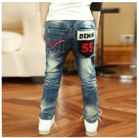 Free shipping  Fashion 2013 New Stylish Boys Jean Children Kids Fashion Casual Jeans Trousers Pants letter trousers B078