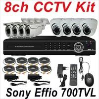Free shipping 8ch cctv kit whole set cctv system sony 700TVL cctv security surveillance video monitor camera high resolution DVR