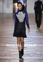 Free Shipping New 2013 Autumn Winter Women's Vintage Fashion Luxury Runway Dress Embroidery Baroque Style Woolen Dresses