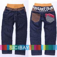 Fashion Boys Jeans Long Trousers Denim Blue Kids Wear,Elasticized Waist Clothing,Free Shipping  K3422