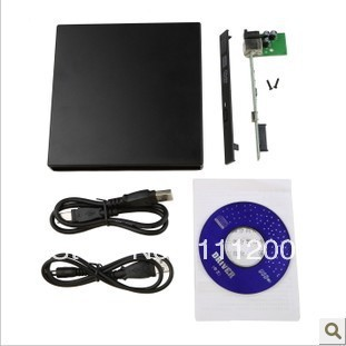 USB 2.0 DVD CD DVD-Rom SATA External Case Slim For Laptop Notebook Free shipping(China (Mainland))