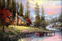 Charming Thomas Kinkade Oil Painting- Peaceful Retreat on canvas 100% Free shipping 002