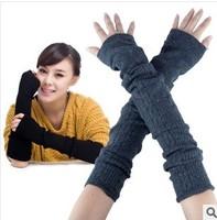 2014 New fashion designs rabbit wool winter warm women gloves knitted slim half finger Arm Warmers Free shipping