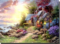 "Thomas Kinkade Oil Repro ""Seaside Hideaway"" 36""x24"" 100% Free shipping 011"