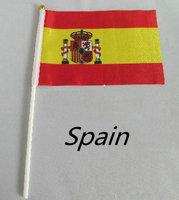 Hot Art 21 * 14cm Spanish flag size 8, Hand Spanish flag with flagpole, World Cup, 100 wholesale free shipping