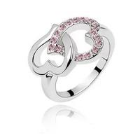 2013 NEW Arrival Charm Pink Heart Crystal Rhinestone Finger Ring Women Girls Gift Sweet Love