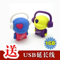 Fashion music personality lovers 1g kolkatan 's usb flash drive cartoon gift high speed usb flash drive 1gb